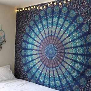 Hippie Tapestry Mandala Wall Hanging in Blue